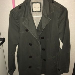 Double breasted olive green coat